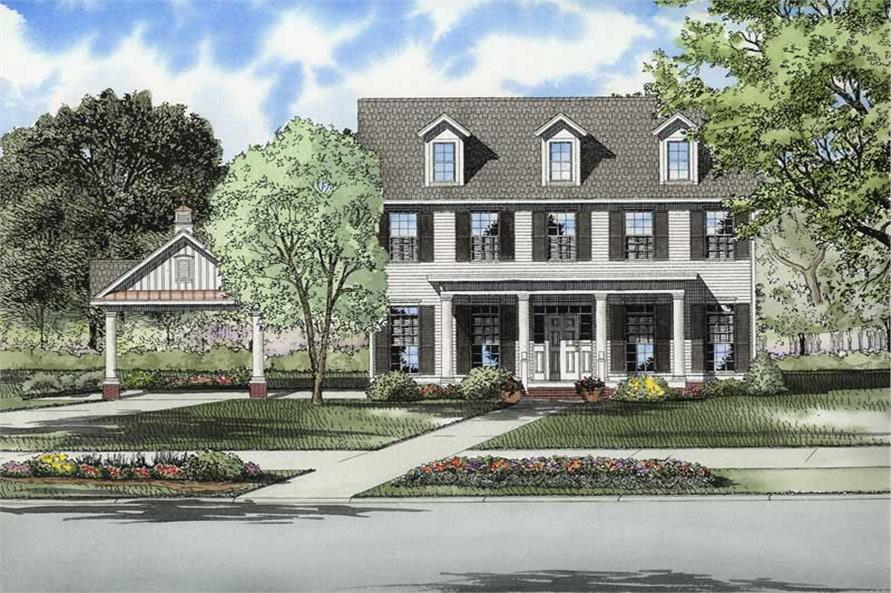 3-Bedroom, 2217 Sq Ft Colonial House Plan - 153-1747 - Front Exterior
