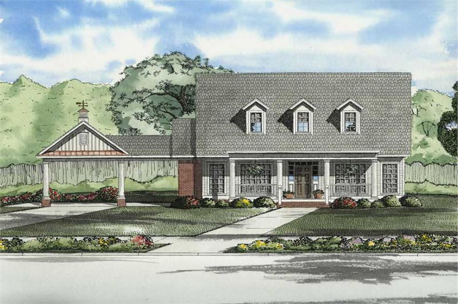 3-Bedroom, 1832 Sq Ft Colonial House Plan - 153-1748 - Front Exterior
