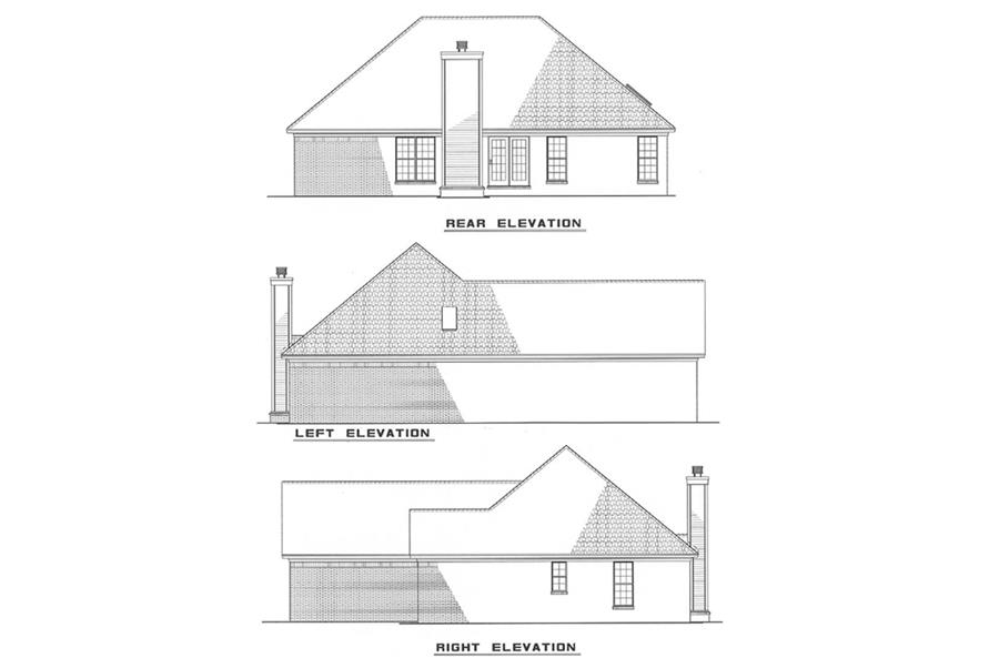 Home Plan Rear Elevation of this 3-Bedroom,1538 Sq Ft Plan -153-1749