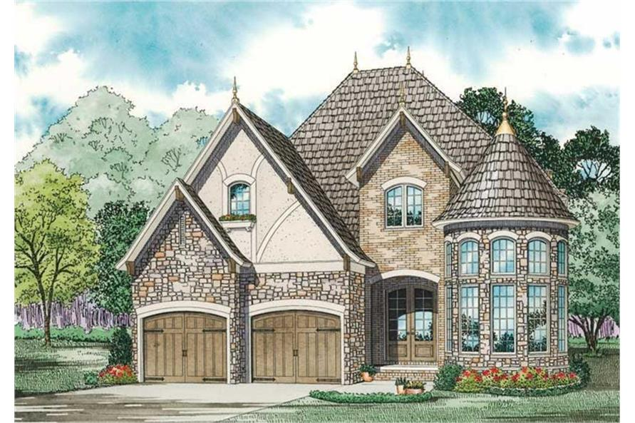 153-1750: Home Plan Front Elevation - Rendering