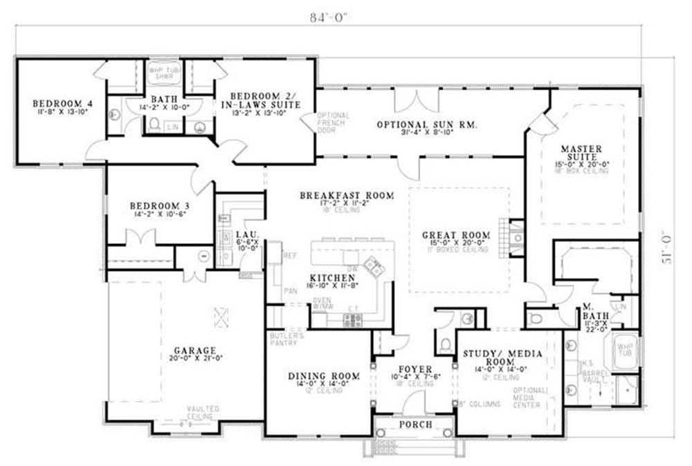 country in law suite traditional house plans home