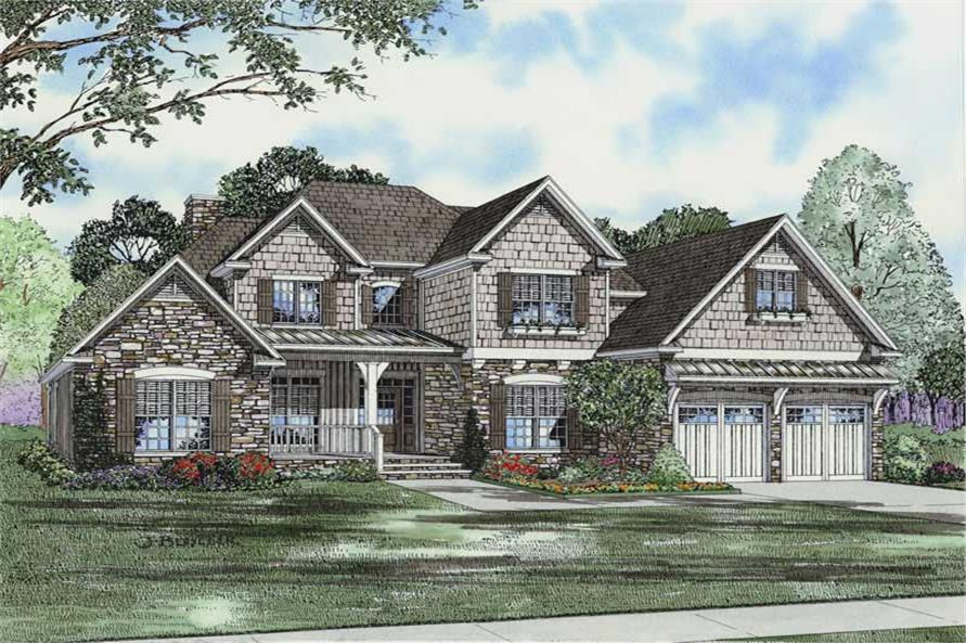 4-Bedroom, 2952 Sq Ft Craftsman House Plan - 153-1757 - Front Exterior