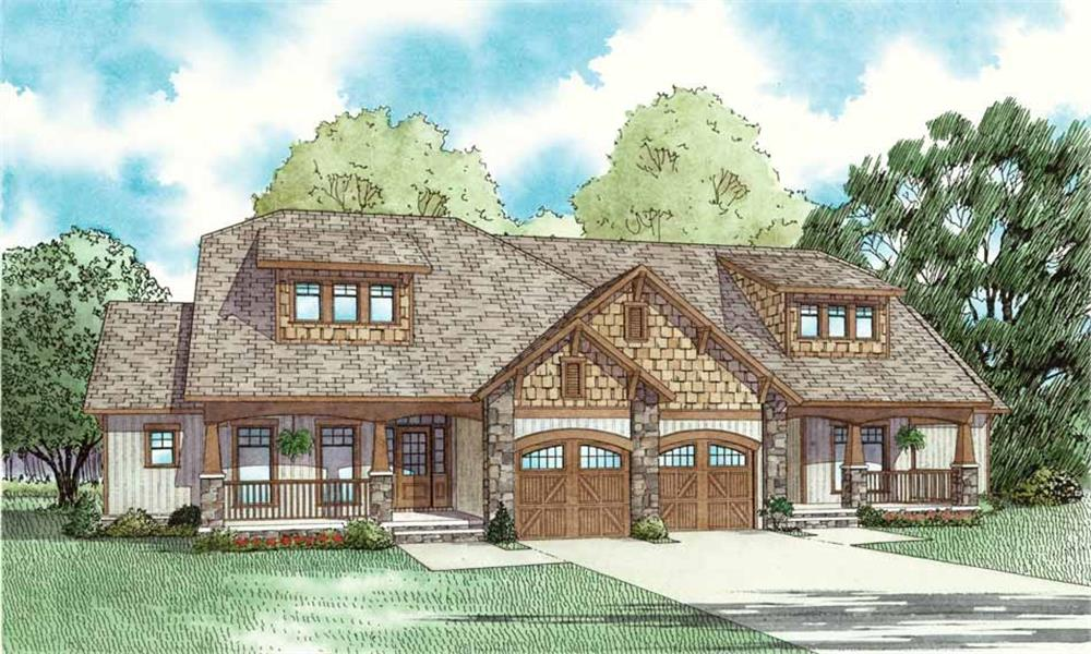 Front elevation of Multi-Unit home (ThePlanCollection: House Plan #153-1759)