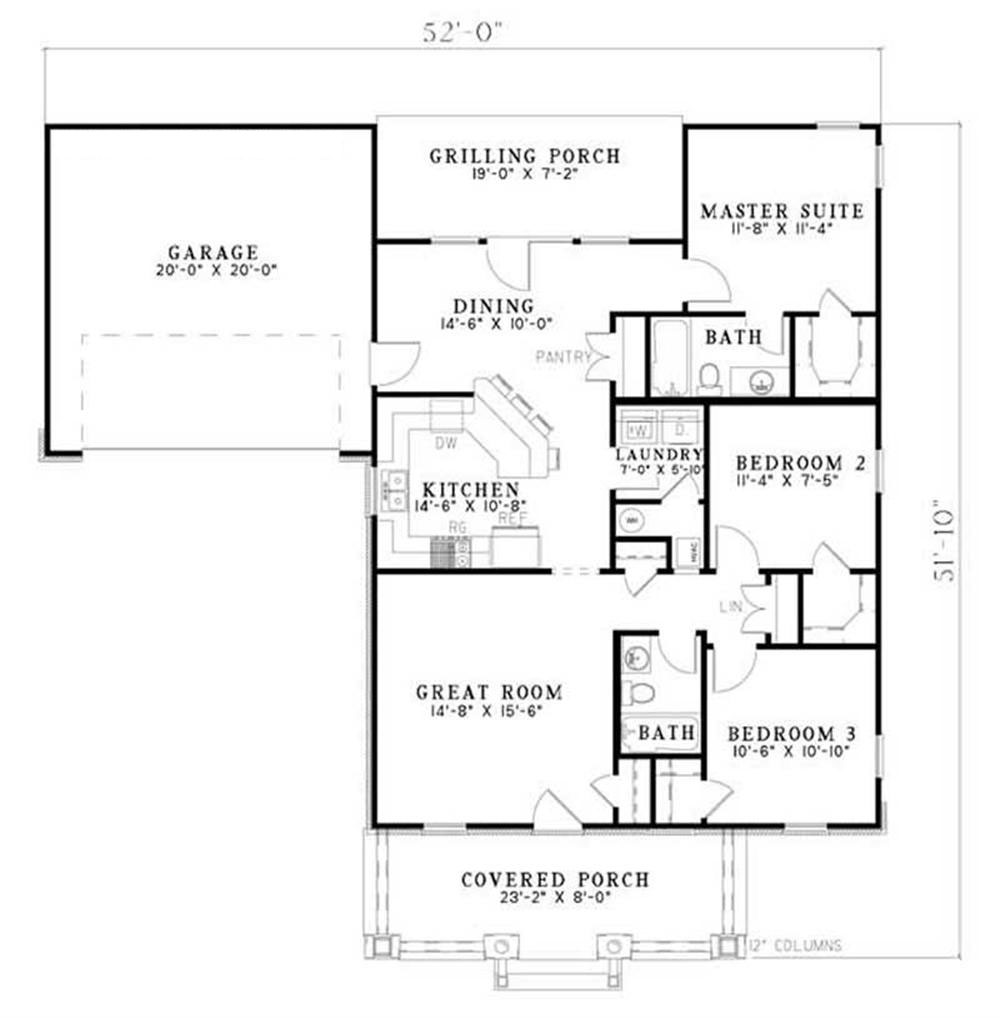 Traditional country ranch farmhouse house plans home for 1250 square feet house