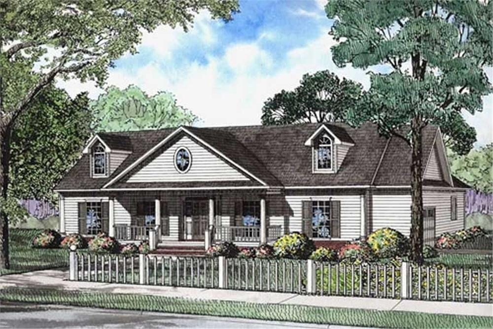 Front elevation of Ranch home (ThePlanCollection: House Plan #153-1765)