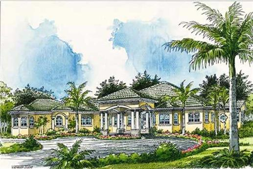 Luxury Home Plans color front elevation.