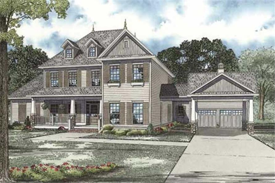 4-Bedroom, 3970 Sq Ft Colonial House Plan - 153-1771 - Front Exterior
