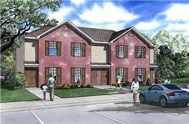 2-Bedroom, 829 Sq Ft Multi-Unit Home Plan - 153-1778 - Main Exterior
