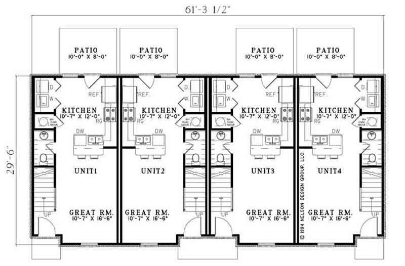 Multi unit house plans home design ndg 841 9220 for Multi unit home plans