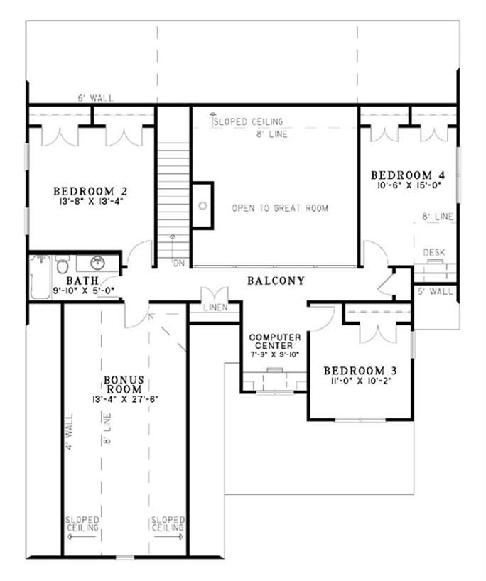 House plans with second floor bonus room gurus floor for One story floor plans with bonus room
