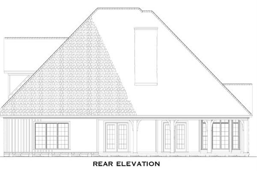 Home Plan Rear Elevation of this 4-Bedroom,2481 Sq Ft Plan -153-1786