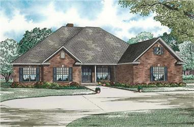 Main image for this ranch house plan with four bedrooms.