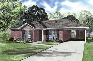 Color rendering of Ranch home plan (ThePlanCollection: House Plan #153-1795)