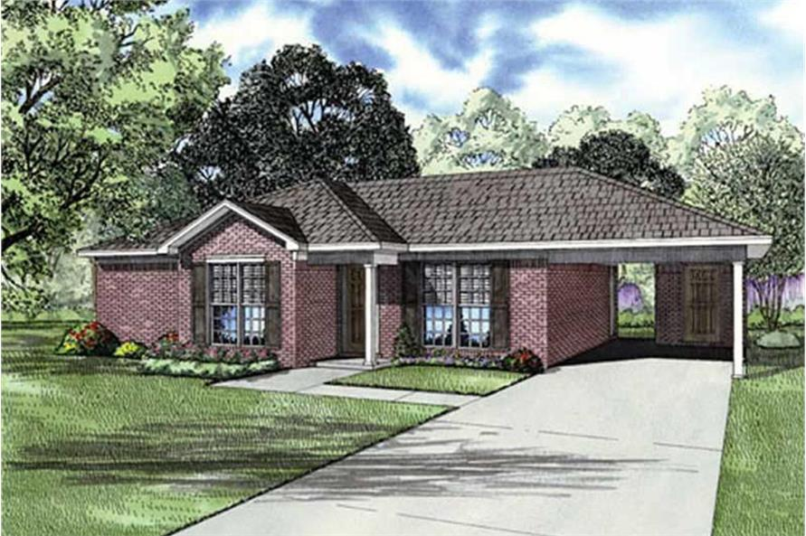 2-Bedroom, 1008 Sq Ft Ranch House Plan - 153-1795 - Front Exterior