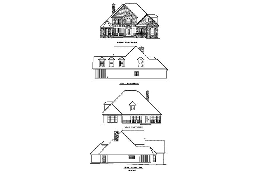 Home Plan Rear Elevation of this 4-Bedroom,2852 Sq Ft Plan -153-1796