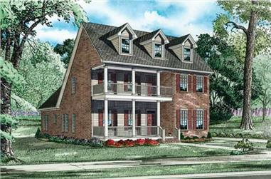 This is a colored elevation of these Colonial Homeplans.