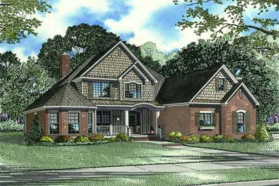 Home Plan Front Elevation of this 4-Bedroom,2852 Sq Ft Plan -153-1798