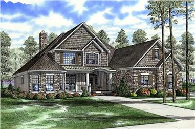 Front elevation of Craftsman home (ThePlanCollection: House Plan #153-1798)