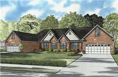 3-Bedroom, 2029 Sq Ft Multi-Unit House Plan - 153-1799 - Front Exterior