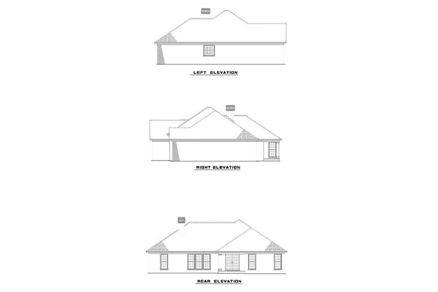 Home Plan Rear Elevation of this 3-Bedroom,1763 Sq Ft Plan -153-1801