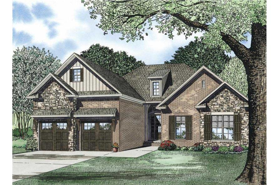 This image is an artist's rendering of these Craftsman Home Plans.