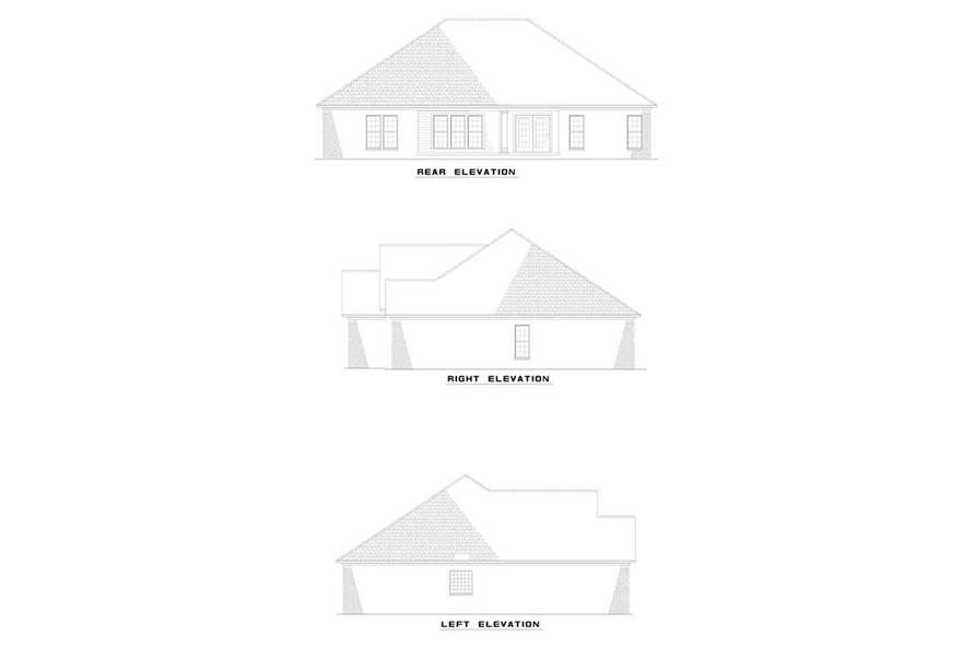 Home Plan Rear Elevation of this 4-Bedroom,2050 Sq Ft Plan -153-1804