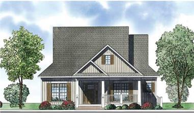 This is an artist's rendering of the front elevation for these Country House Plans.
