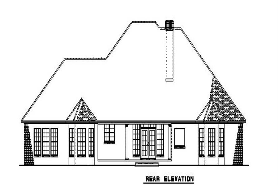Home Plan Rear Elevation of this 4-Bedroom,2852 Sq Ft Plan -153-1806