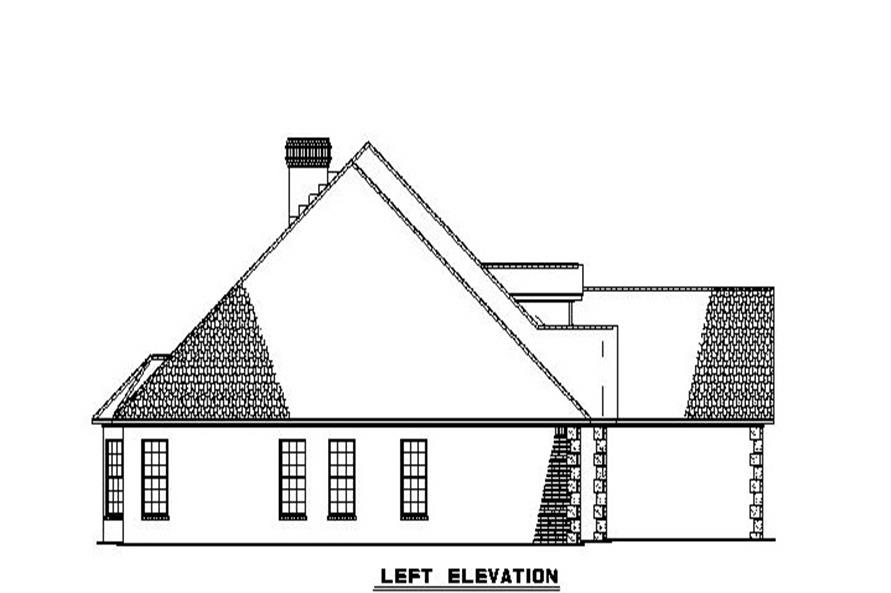 Home Plan Left Elevation of this 4-Bedroom,2852 Sq Ft Plan -153-1806