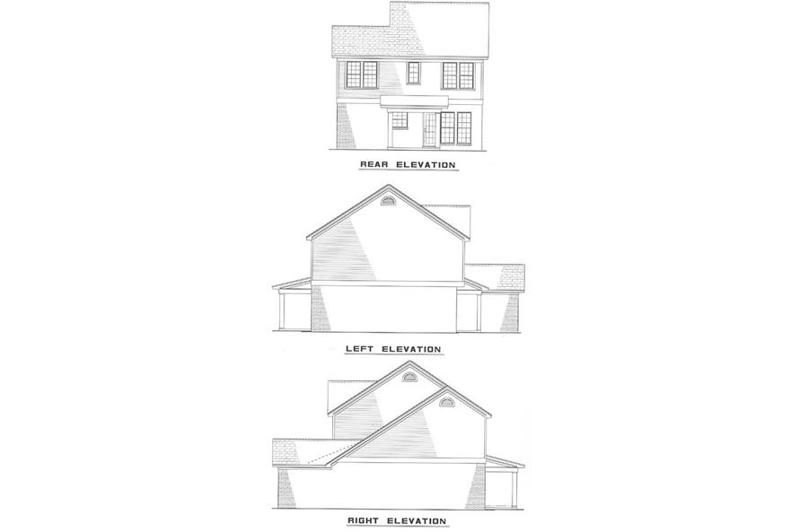 Home Plan Rear Elevation of this 3-Bedroom,1251 Sq Ft Plan -153-1807