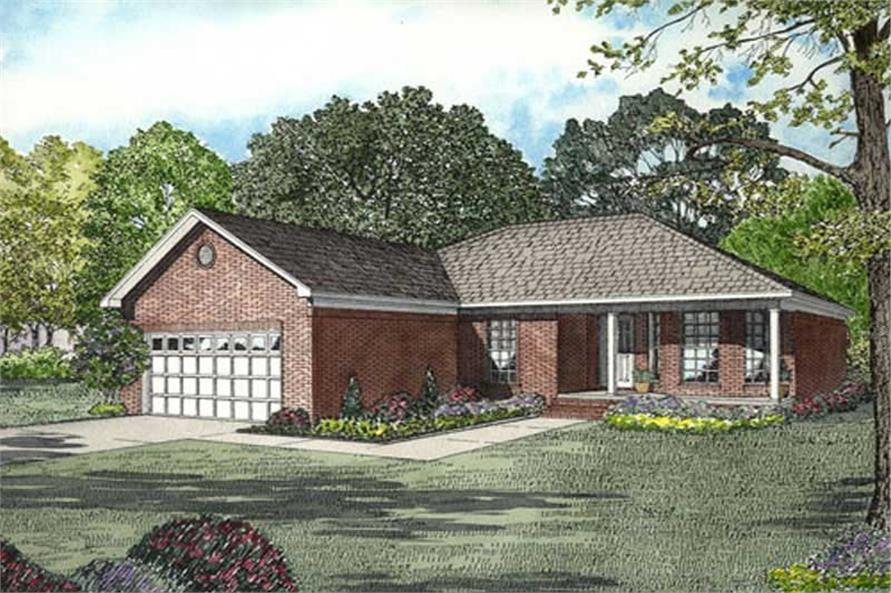 3-Bedroom, 1325 Sq Ft Small House Plans - 153-1818 - Main Exterior