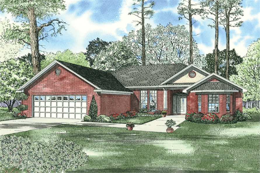 3-Bedroom, 2181 Sq Ft Ranch House Plan - 153-1823 - Front Exterior