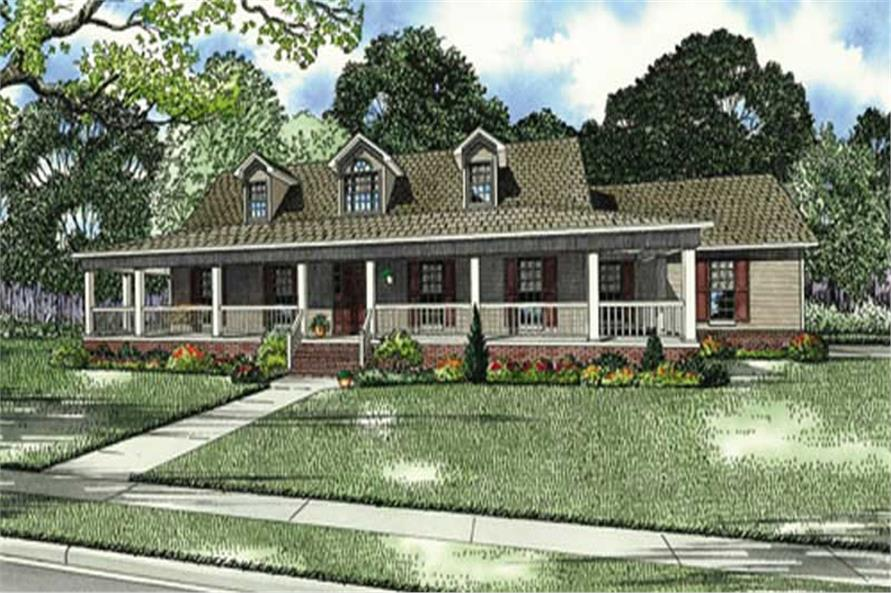 3-Bedroom, 1921 Sq Ft Country House Plan - 153-1828 - Front Exterior