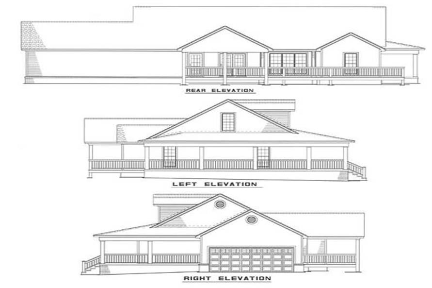 Home Plan Rear Elevation of this 3-Bedroom,1921 Sq Ft Plan -153-1828