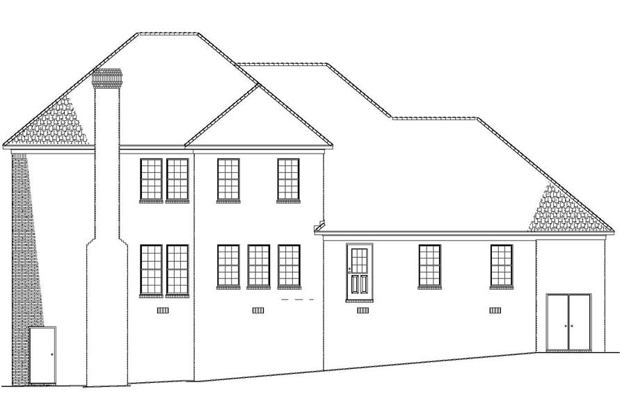 Home Plan Rear Elevation of this 5-Bedroom,3643 Sq Ft Plan -153-1830