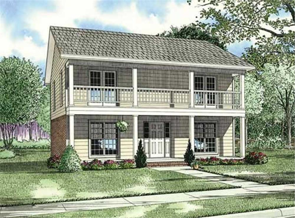 Front elevation of Southern home (ThePlanCollection: House Plan #153-1831)
