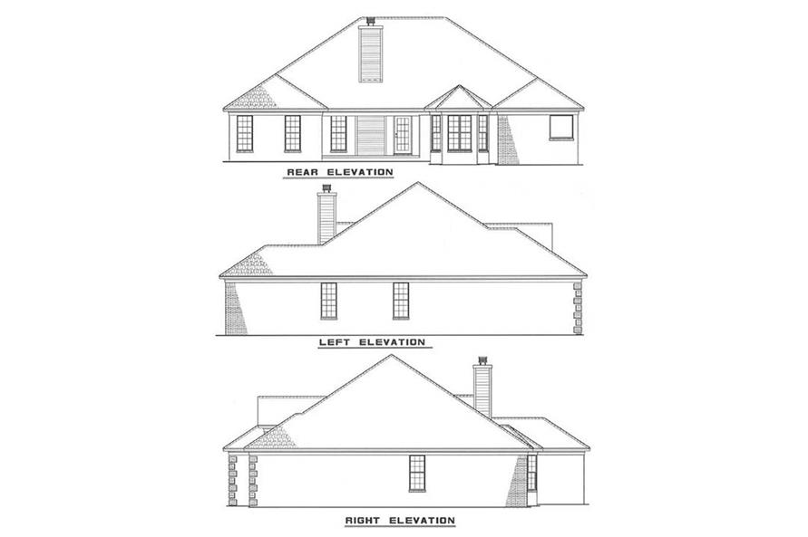 Home Plan Rear Elevation of this 4-Bedroom,2319 Sq Ft Plan -153-1833