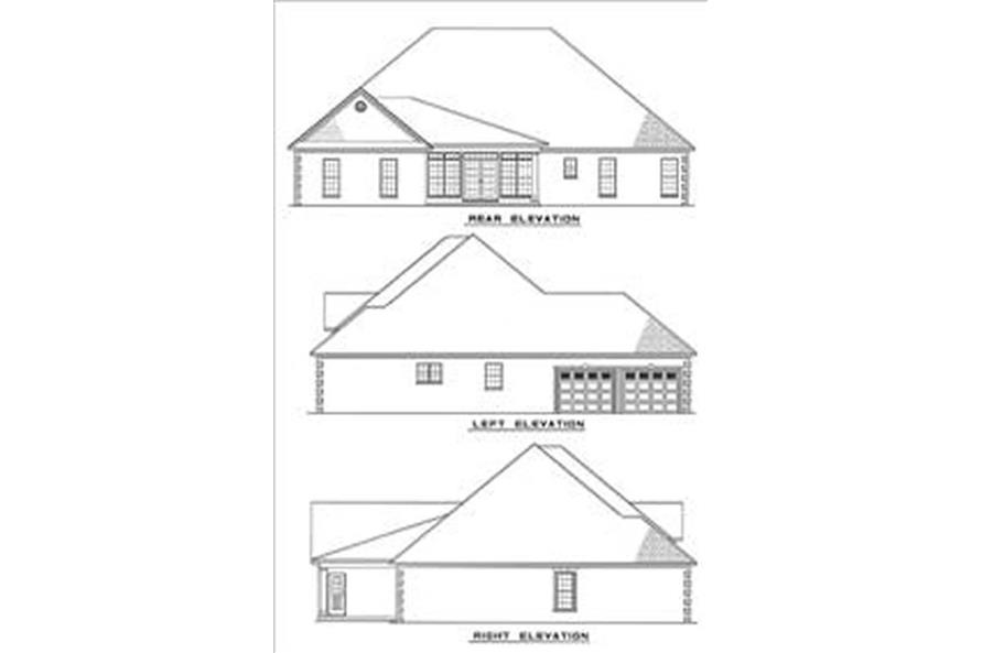 Home Plan Rear Elevation of this 3-Bedroom,2525 Sq Ft Plan -153-1839