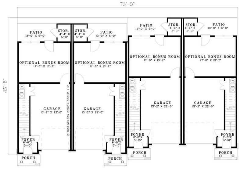 Multi unit house plans home design cambridge court 17616 for Multi unit house plans