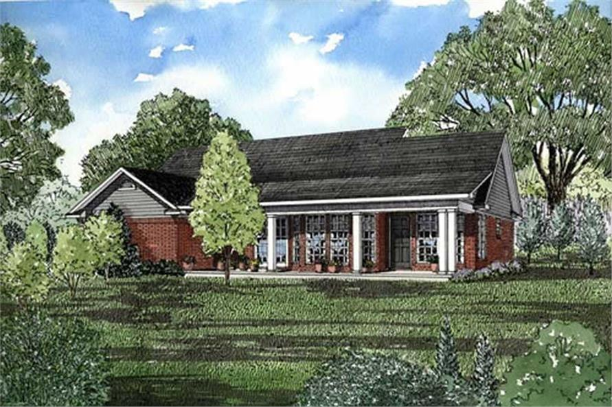 Home Plan Rear Elevation of this 3-Bedroom,1525 Sq Ft Plan -153-1848