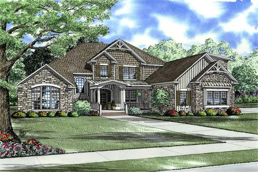 4-Bedroom, 3167 Sq Ft Country Home Plan - 153-1849 - Main Exterior