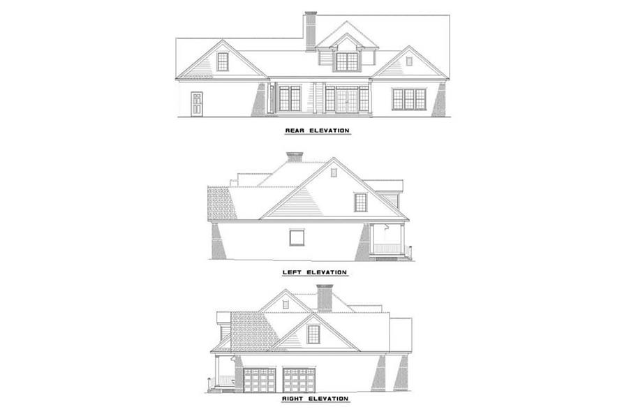 Home Plan Rear Elevation of this 5-Bedroom,3155 Sq Ft Plan -153-1853
