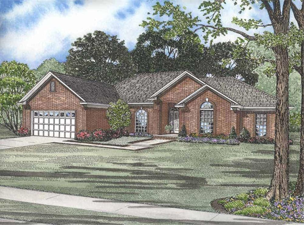 Front elevation of Ranch home (ThePlanCollection: House Plan #153-1854)