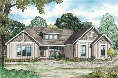 4-Bedroom, 3016 Sq Ft Country House Plan - 153-1855 - Front Exterior