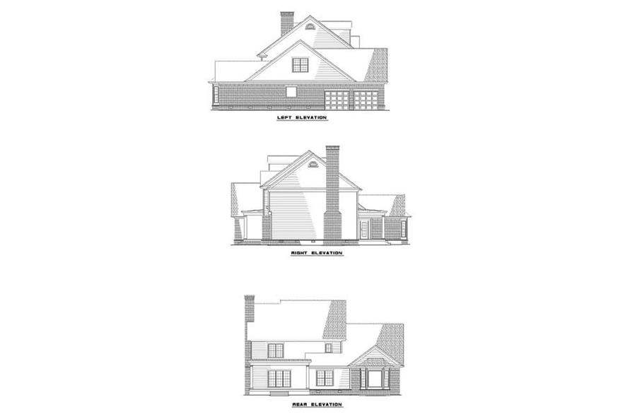 Home Plan Rear Elevation of this 4-Bedroom,2952 Sq Ft Plan -153-1858