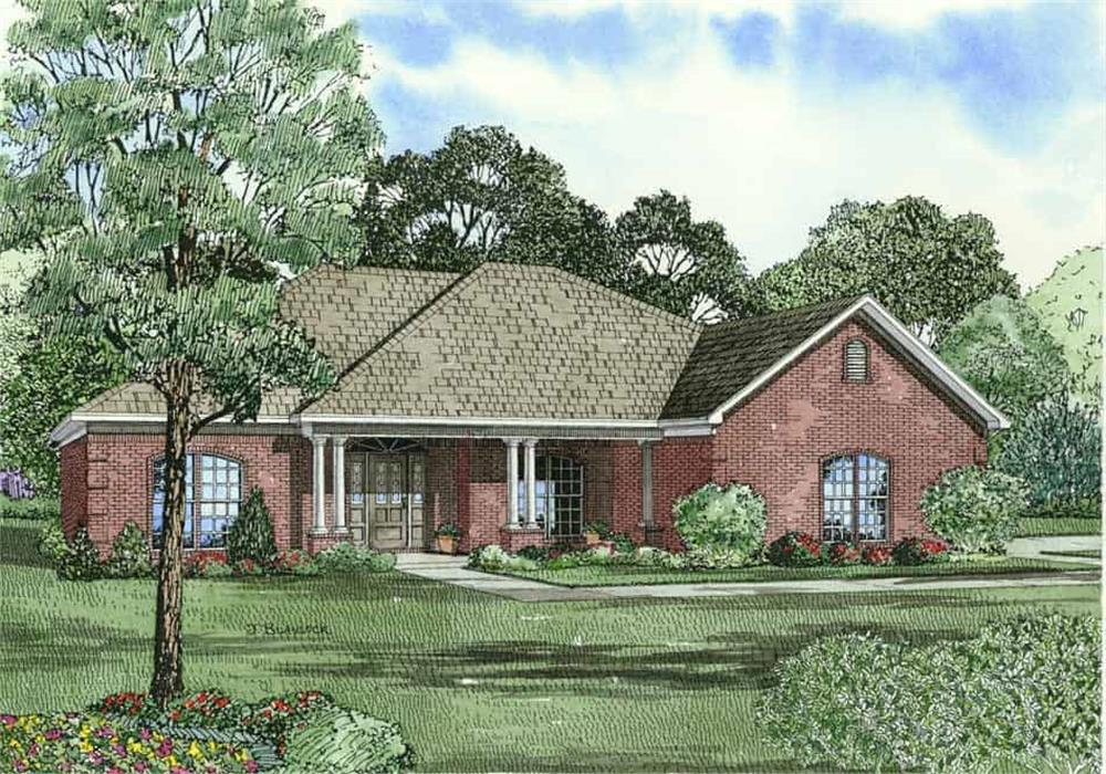 Front elevation of Ranch home (ThePlanCollection: House Plan #153-1867)