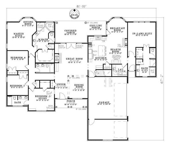 Home Plan 9844 on rear entry garage house plans
