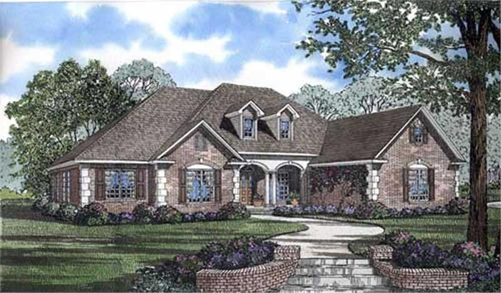 This view shows the Traditional style for these Traditional House Plans.