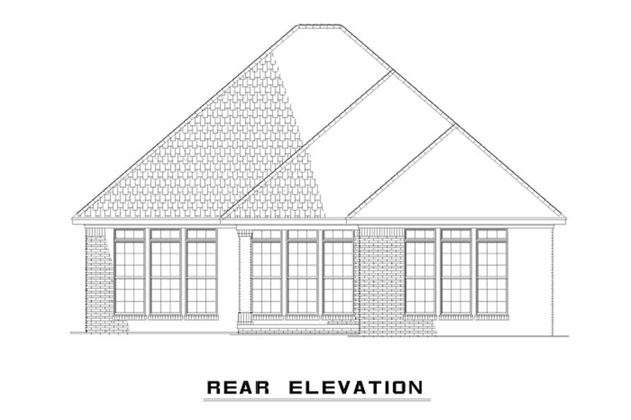 Home Plan Rear Elevation of this 3-Bedroom,1379 Sq Ft Plan -153-1873