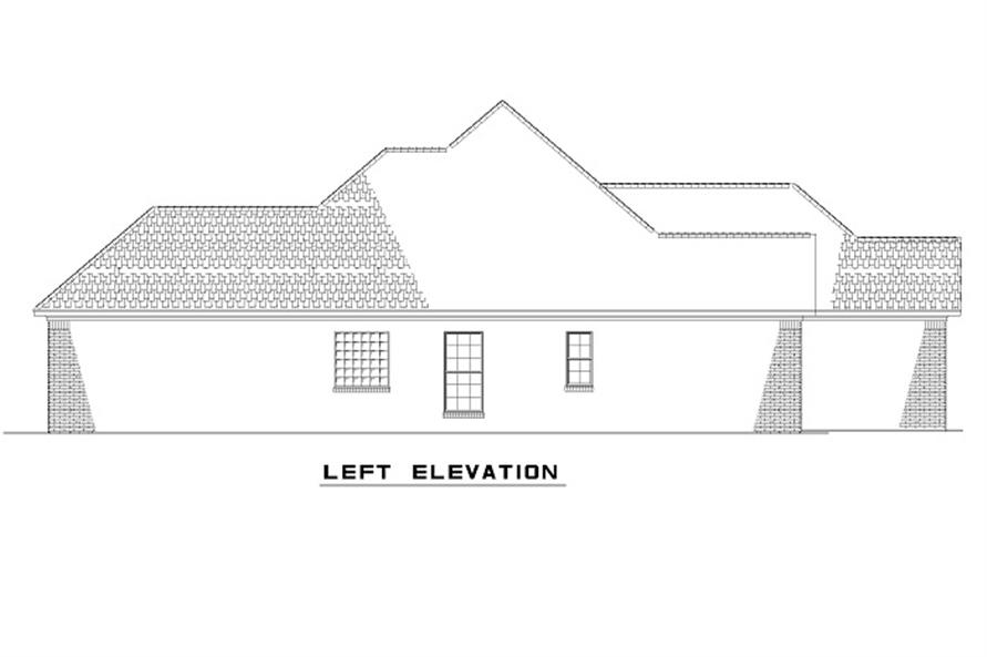 Home Plan Left Elevation of this 3-Bedroom,1379 Sq Ft Plan -153-1873